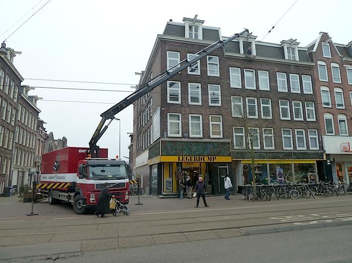 verhuizing van piano op verdieping in Amsterdam
